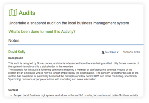 screen showing the notes within an audit project