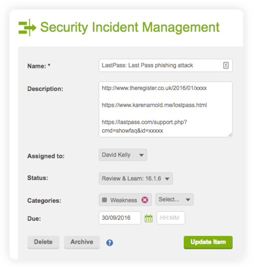 screen showing the security incident management details of a phishing attack