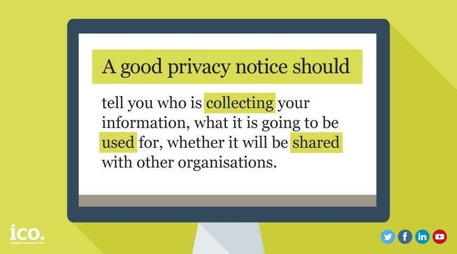 a good privacy notice should tell you who is collecting information, what is gong to be used for and whether it will be shared