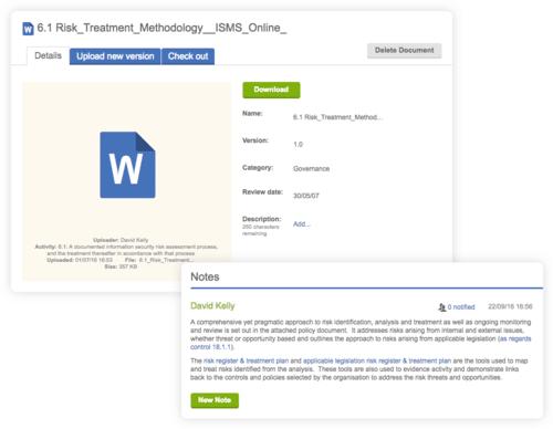 document being uploaded for risk treatment methodology