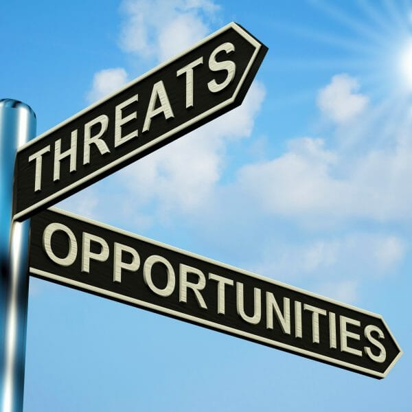 An image of a directional sign, pointing to threats and opportunities.