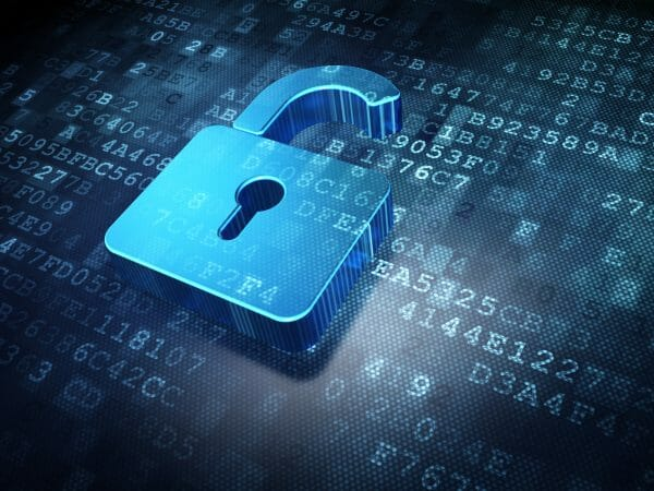An image of a blue opened padlock on a digital background of numbers and letters, to demonstrate a concept of information security.