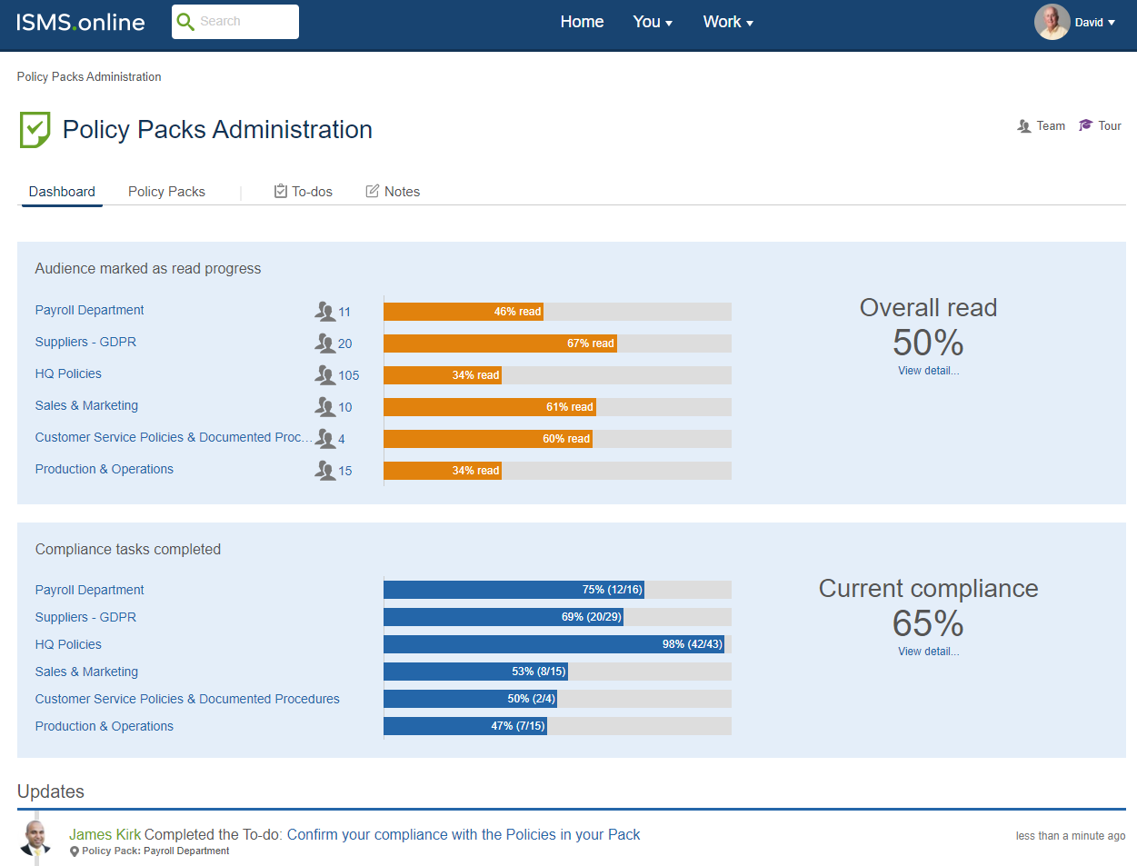An image of the policy packs administration area on ISMS.online