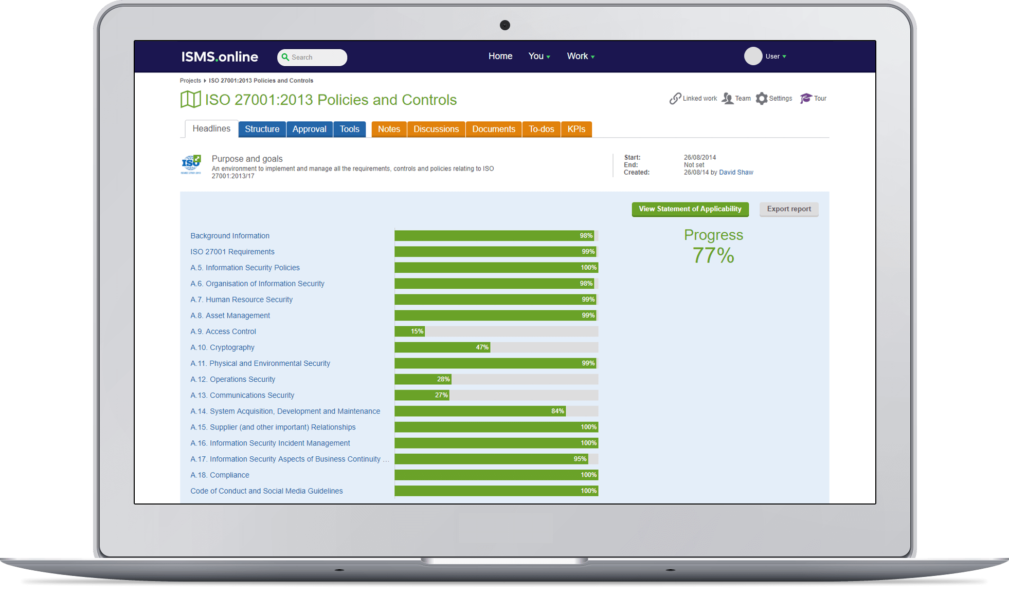 A screen shot showing the policies and controls overview on ISMS.online