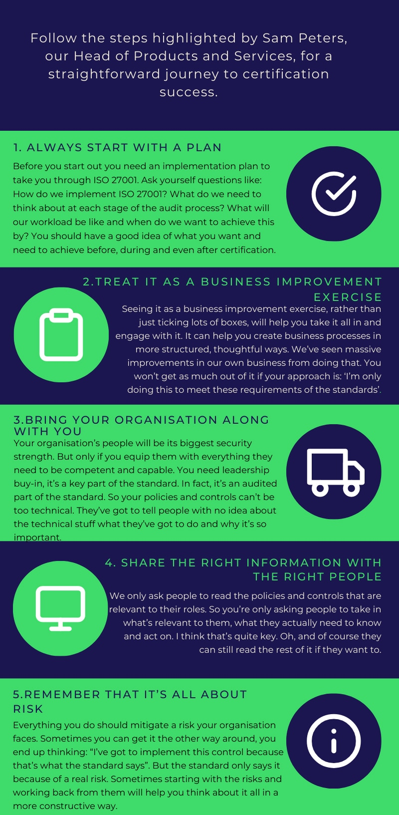 top 5 tips for achieving iso 27001 infographic