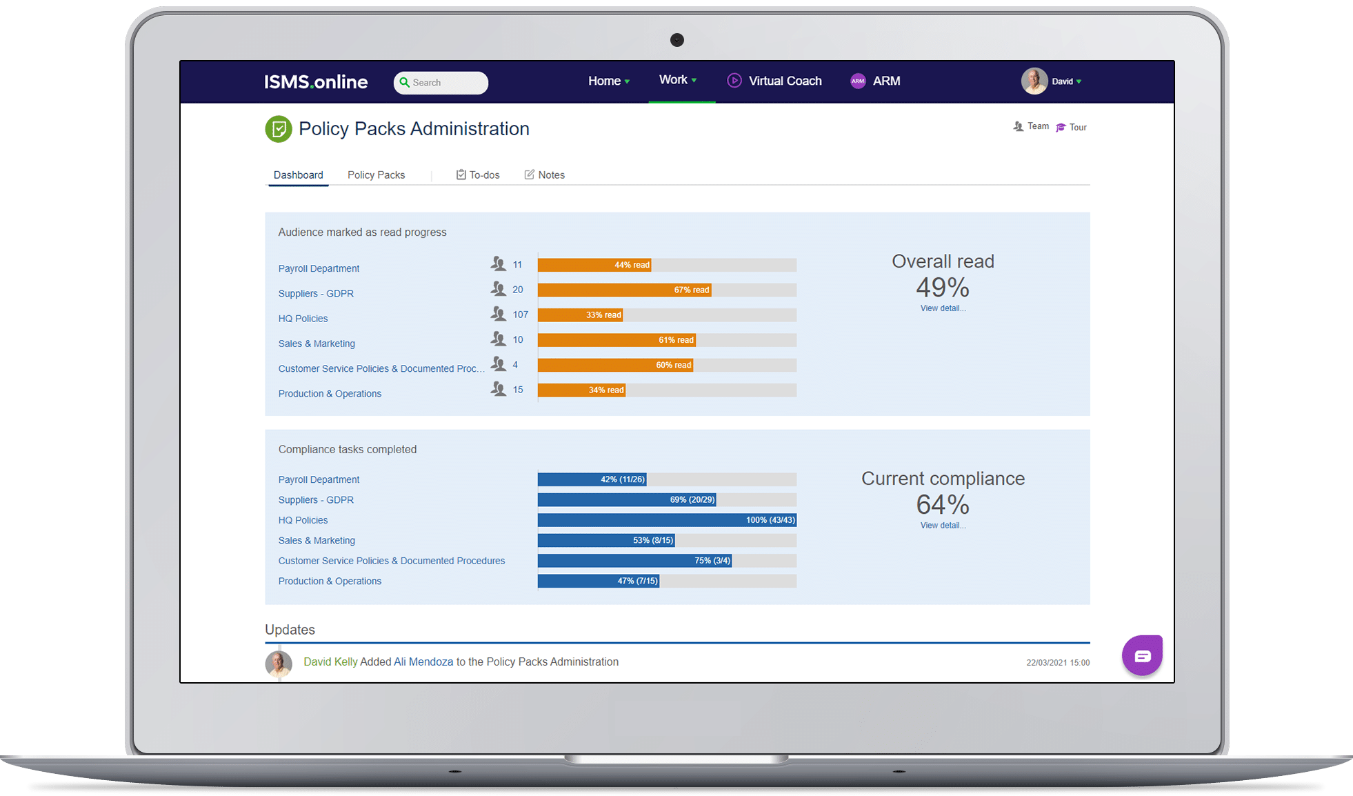 Policy packs administration dashboard