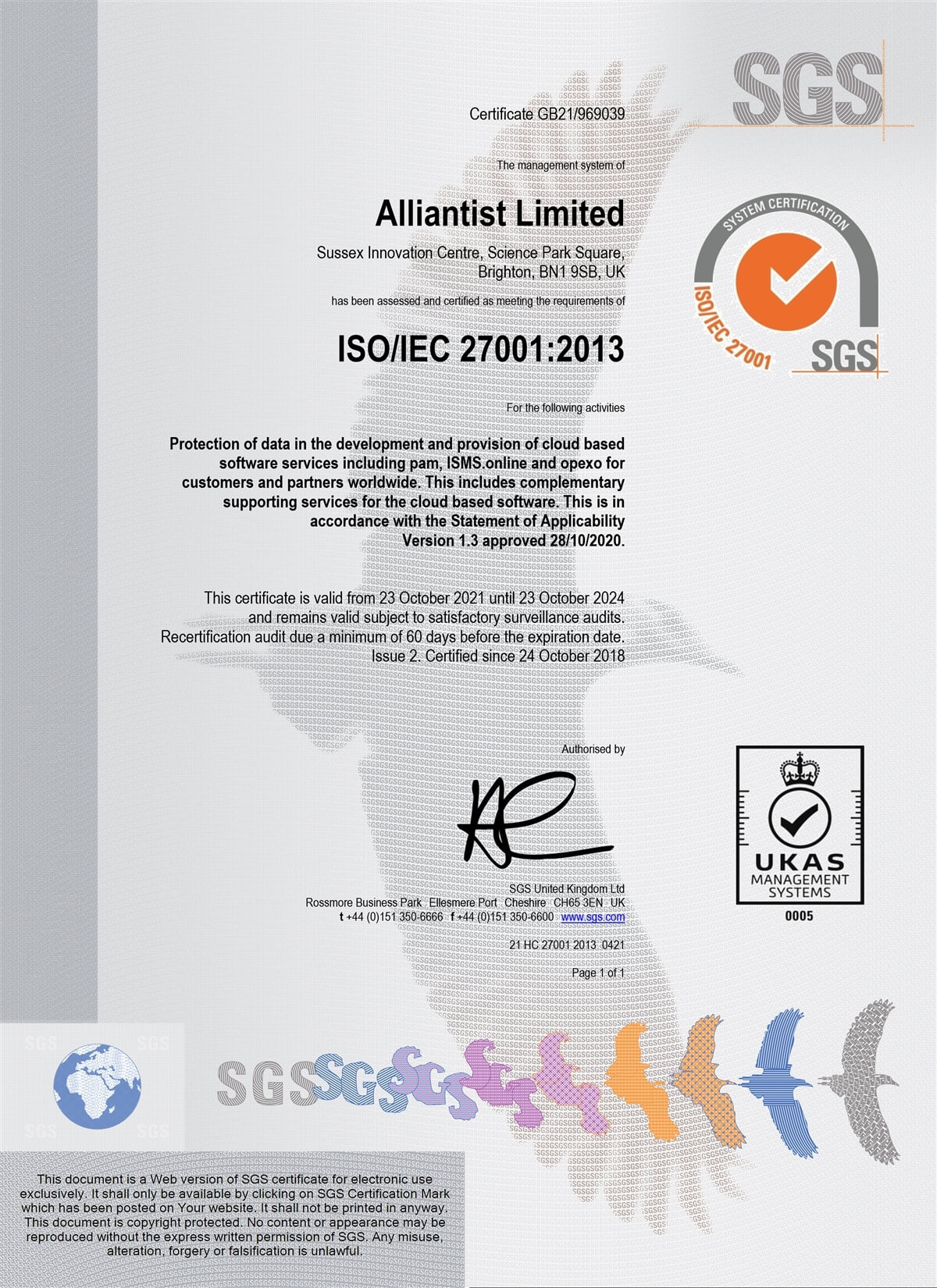 Our ISO 27001 certificate