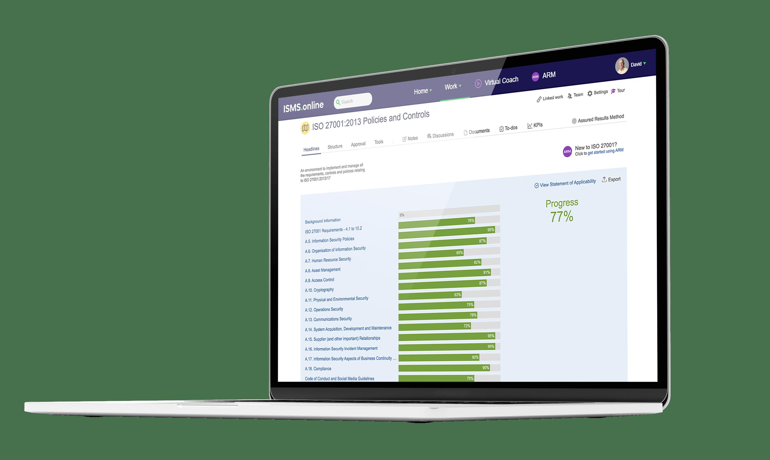 ISMS.online platform dashboard